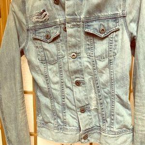 Distressed denim jacket women's xs
